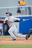 Carl Chester (9) of the Princeton Rays follows through on his swing against the Danville Braves at American Legion Post 325 Field on June 25, 2017 in Danville, Virginia.  The Braves walked-off the Rays 7-6 in 11 innings.  (Brian Westerholt/Four Seam Images)