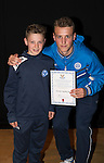 St Johnstone FC Academy Awards Night...06.04.15  Perth Concert Hall<br /> Ally Gilchrist presents a certificate to Jordan Northcott<br /> Picture by Graeme Hart.<br /> Copyright Perthshire Picture Agency<br /> Tel: 01738 623350  Mobile: 07990 594431