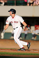 Pawtucket Red Sox catcher Ryan Lavarnway #22 during a game versus the Scranton/Wilkes-Barre RailRiders at McCoy Stadium on August 25, 2013 in Pawtucket, Rhode Island. (Ken Babbitt/Four Seam Images)