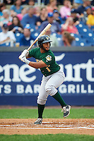 Lynchburg Hillcats catcher Juan De La Cruz (1) at bat during a game against the Wilmington Blue Rocks on June 3, 2016 at Judy Johnson Field at Daniel S. Frawley Stadium in Wilmington, Delaware.  Lynchburg defeated Wilmington 16-11 in ten innings.  (Mike Janes/Four Seam Images)