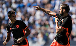 Mario Suarez of Valencia CF celebrates with teammates during their La Liga match between Club Deportivo Leganes and Valencia CF at the Butarque Municipal Stadium on 25 September 2016 in Madrid, Spain. Photo by Diego Gonzalez Souto / Power Sport Images