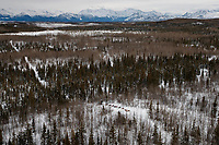 A team runs through the hills in the Farewell Burn area between Rohn and Nikolai during the 2018 Iditarod race on Tuesday afternoon March 06, 2018. <br /> <br /> Photo by Jeff Schultz/SchultzPhoto.com  (C) 2018  ALL RIGHTS RESERVED