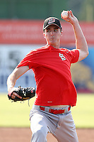 Batavia Muckdogs pitcher Sean Watson #35 delivers a pitch in a simulated game during the teams pre-season pep rally at Dwyer Stadium on June 15, 2011 in Batavia, New York.  Photo By Mike Janes/Four Seam Images
