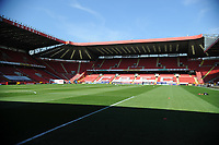 24th April 2021; The Valley, London, England; English Football League One Football, Charlton Athletic versus Peterborough United; The Valley stadium bathed in sunshine but empty due to the pandemic restrictions