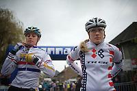 National Champs Nikki Harris (GBR) & Katie Comptom (USA) at the start<br /> <br /> Vlaamse Druivencross Overijse 2013