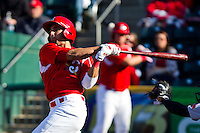 Alex Castellanos (18) of the Springfield Cardinals follows through on his swing during a game against the Frisco RoughRiders on April 16, 2011 at Hammons Field in Springfield, Missouri.  Photo By David Welker/Four Seam Images