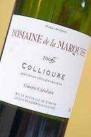 Cuvee Caroline. Domaine de la Marquise. Collioure. Roussillon. France. Europe. Bottle.
