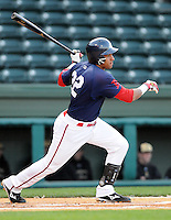 April 7, 2009: Ryan Dent of the Greenville Drive hits in a game against Wofford College on Tuesday, April 7, 2009, at Fluor Field in Greenville. Photo by:  Tom Priddy/Four Seam Images