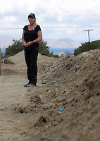 Pictured: Forensic anthropologist and archaeologist Gaille Mackinnon at the second site in Kos, Greece. Thursday 13 October 2016<br /> Re: Police teams led by South Yorkshire Police are searching for missing toddler Ben Needham on the Greek island of Kos.<br /> Ben, from Sheffield, was 21 months old when he disappeared on 24 July 1991 during a family holiday.<br /> Digging has begun at a new site after a fresh line of inquiry suggested he could have been crushed by a digger.