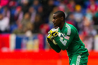D. C. United goalkeeper Bill Hamid (28). The New York Red Bulls and D. C. United played to a 0-0 tie during a Major League Soccer (MLS) match at Red Bull Arena in Harrison, NJ, on March 16, 2013.
