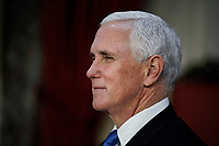 United States Vice President Mike Pence finishes a swearing-in ceremony for senators in the Old Senate Chamber at the US Capitol in Washington, Sunday, Jan. 3, 2021. <br /> Credit: J. Scott Applewhite / Pool via CNP /MediaPunch<br /> CAP/MPI/RS<br /> ©RS/MPI/Capital Pictures