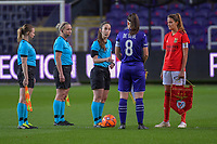 assistant Elisabeth Thoresen , assistant Monica Lokkeberg , referee Henrikke Nervik , Anderlecht defender Laura De Neve (8) and Benfica's defender Silvia Rebelo (4) pictured during a female soccer game between RSC Anderlecht Dames and Portugese Benfica Ladies  in the second qualifying round for the Uefa Womens Champions League of the 2020 - 2021 season , Wednesday 18 th of November 2020  in ANDERLECHT , Belgium . PHOTO SPORTPIX.BE | SPP | STIJN AUDOOREN