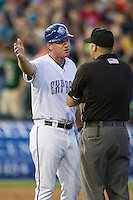 Round Rock Express manager Jason Wood (40) argues with the umpire during the Pacific Coast League baseball game against the Oklahoma City Dodgers on June 9, 2015 at the Dell Diamond in Round Rock, Texas. The Dodgers defeated the Express 6-3. (Andrew Woolley/Four Seam Images)