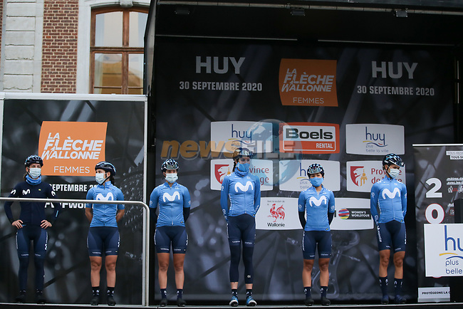 Movistar Team Women at sign on before La Fleche Wallonne Femmes 2020, running 124km from Huy to Mur de Huy, Belgium. 30th September 2020.<br /> Picture: ASO/Thomas Maheux | Cyclefile<br /> All photos usage must carry mandatory copyright credit (© Cyclefile | ASO/Thomas Maheux)
