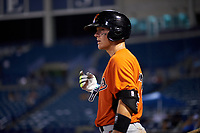 Austin Biggar (32) of Parkview High School in Canton, Georgia playing for the Baltimore Orioles scout team during the East Coast Pro Showcase on July 29, 2015 at George M. Steinbrenner Field in Tampa, Florida.  (Mike Janes/Four Seam Images)