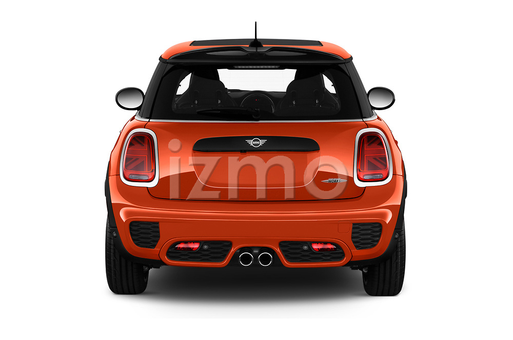 Straight rear view of 2019 MINI Hardtop-2-Door John-Cooper-Works-Iconic 5 Door Hatchback Rear View  stock images