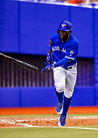 26 March 2018: Toronto Blue Jays center fielder Roemon Fields in action during an exhibition game against the St. Louis Cardinals at Olympic Stadium in Montreal, Quebec, Canada. The Cardinals defeated the Blue Jays 5-3 in the first of two MLB pre-season games in the former home of the Montreal Expos. Mandatory Credit: Ed Wolfstein Photo *** RAW (NEF) Image File Available ***