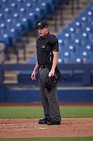 Home plate umpire Tyler Wall during an Arizona League game between the AZL Rangers and the AZL Brewers Blue on July 11, 2019 at American Family Fields of Phoenix in Phoenix, Arizona. The AZL Rangers defeated the AZL Brewers Blue 5-2. (Zachary Lucy/Four Seam Images)