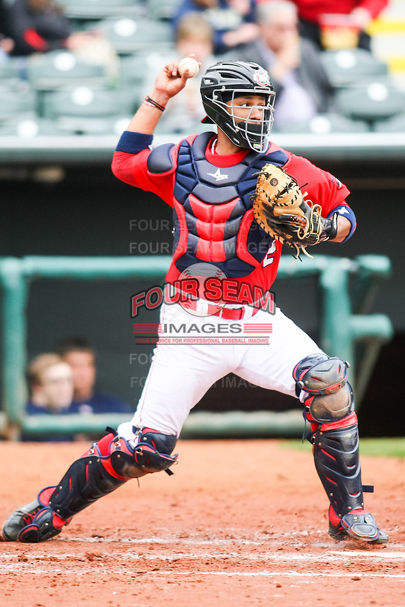 Carlos Corporan (22) in action during the MiLB matchup between the Memphis Redbirds and the Oklahoma City Redhawks at Chickasaw Bricktown Ballpark on April 8th, 2012 in Oklahoma City, Oklahoma. The Redhawks defeated the Redbirds 8-1  (William Purnell/Four Seam Images)