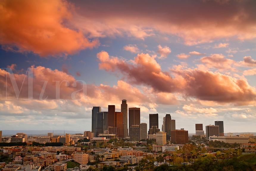Los Angeles city skyline during a colorful sunset, Los Angeles, California.