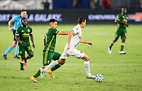 CARSON, CA - OCTOBER 07: Daniel Steres #5 of the Los Angeles Galaxy moves with the ball during a game between Portland Timbers and Los Angeles Galaxy at Dignity Heath Sports Park on October 07, 2020 in Carson, California.