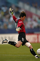 Goal keeper Gao Hong of the New York Power clears a ball during a June 26th 3-2 loss to the Carolina Courage at Mitchel Athletic Complex.