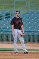 Kyle Petty (44) of the Bakersfield Blaze in the field at first base during a game against the Lancaster JetHawks at The Hanger on August 5, 2015 in Lancaster, California. Bakersfield defeated Lancaster, 12-5. (Larry Goren/Four Seam Images)