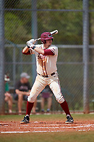 Saint Joseph's Hawks first baseman Dominic Cuoci (30) bats during a game against the Ball State Cardinals on March 9, 2019 at North Charlotte Regional Park in Port Charlotte, Florida.  Ball State defeated Saint Joseph's 7-5.  (Mike Janes/Four Seam Images)