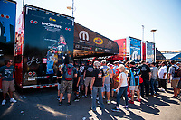 Sep 15, 2019; Mohnton, PA, USA; Fans surround the pit area of NHRA top fuel driver Leah Pritchett during the Reading Nationals at Maple Grove Raceway. Mandatory Credit: Mark J. Rebilas-USA TODAY Sports