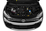 Car Stock 2021 Volkswagen ID.4 First-Edition 5 Door SUV Engine  high angle detail view