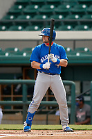 Toronto Blue Jays catcher Philip Clarke (20) bats during a Florida Instructional League game against the Detroit Tigers on October 28, 2020 at Joker Marchant Stadium in Lakeland, Florida.  (Mike Janes/Four Seam Images)