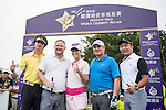 (L-R) Chris Yu, David May, Paula Creamer, Markus Manninen, Tenniel Chu at the 1st hole during the World Celebrity Pro-Am 2016 Mission Hills China Golf Tournament on 23 October 2016, in Haikou, China. Photo by Weixiang Lim / Power Sport Images