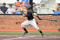 Bristol Pirates shortstop Luis Perez (13) swings at a pitch during a game against the Johnson City Cardinals at TVA Credit Union Ballpark on June 23, 2017 in Johnson City, Tennessee. The Pirates defeated the Cardinals 4-3. (Tony Farlow/Four Seam Images)