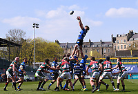 18th April 2021 2021; Recreation Ground, Bath, Somerset, England; English Premiership Rugby, Bath versus Leicester Tigers; Josh McNally of Bath wins the lineout ball