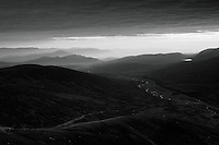 The Cairngorms at dawn from A'Mharconaich, Monadhliath, Drumochter Pass, Cairngorm National Park, Highlands
