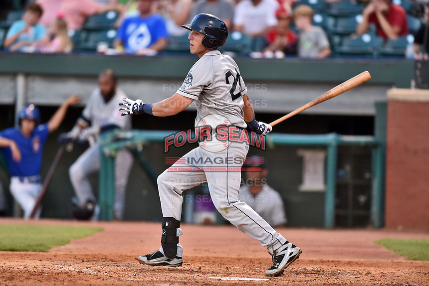 Mobile BayBears third baseman Jake Lamb #24 swings at a pitch during the Southern League All Star game at AT&T Field on June 17, 2014 in Chattanooga, Tennessee. The Southern Division defeated the Northern Division 6-4. (Tony Farlow/Four Seam Images)