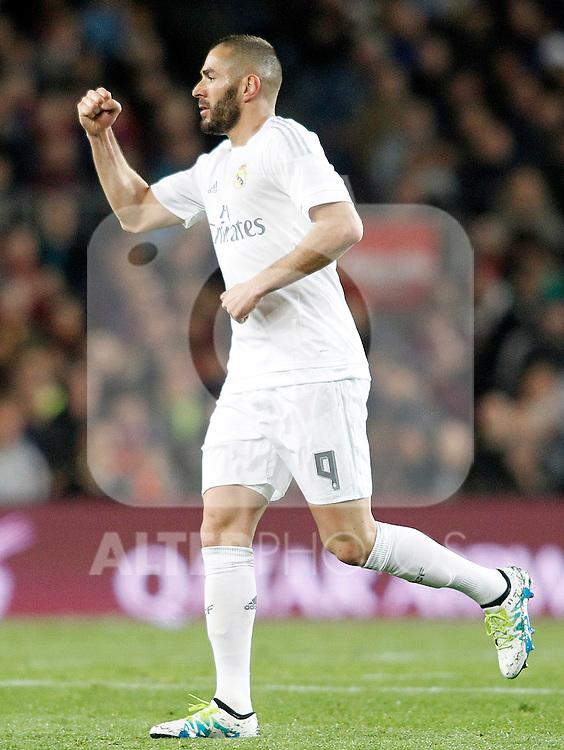 Real Madrid's Karim Benzema celebrates goal during La Liga match. April 2,2016. (ALTERPHOTOS/Acero)