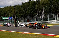 30th August 2020, Spa Francorhamps, Belgium, F1 Grand Prix of Belgium , Race Day;  33 Max Verstappen NLD, Aston Martin Red Bull Racing, 10 Pierre Gasly FRA, Scuderia AlphaTauri Honda, 11 Sergio Perez MEX, BWT Racing Point F1 Team