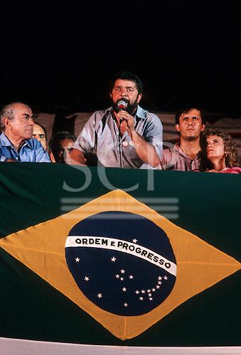 Rio de Janeiro, Brazil; Luis Ignacio da Silva - 'Lula' - at a political rally with Leonel Brizola (left). 13 December 1989.