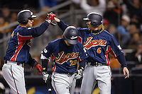 Nobuhiko Matsunaka, Norichika Aoki, Hitoshi Tamura, of Japan during World Baseball Championship at Petco Park in San Diego,California on March 20, 2006. Photo by Larry Goren/Four Seam Images