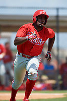 GCL Phillies third baseman D.J. Stewart (10) runs to first base during a game against the GCL Tigers East on July 25, 2017 at TigerTown in Lakeland, Florida.  GCL Phillies defeated the GCL Tigers East 4-1.  (Mike Janes/Four Seam Images)
