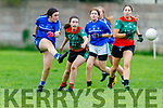Laura Williams of Kerins O'Rahills makes no mistake as she rattles the Beale Ballyduff net in the Kerry LGFA Junior C Football Championship