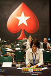 A dealer prepares for the start of Day 1A of the Main Event.