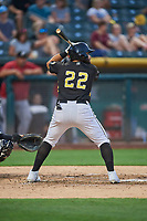 Jose Rojas (22) of the Salt Lake Bees bats against the El Paso Chihuahuas at Smith's Ballpark on August 14, 2018 in Salt Lake City, Utah. El Paso defeated Salt Lake 6-3. (Stephen Smith/Four Seam Images)