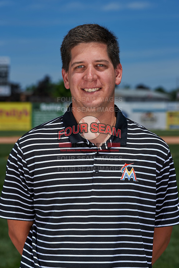 Batavia Muckdogs head athletic trainer Eric Reigelsberger poses for a photo before the teams first practice on June 15, 2016 at Dwyer Stadium in Batavia, New York.  (Mike Janes/Four Seam Images)