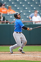 Akron RubberDucks catcher Eric Haase (13) at bat during the first game of a doubleheader against the Bowie Baysox on June 5, 2016 at Prince George's Stadium in Bowie, Maryland.  Bowie defeated Akron 6-0.  (Mike Janes/Four Seam Images)