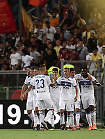 Calcio, Serie A: Roma - Atalanta, Stadio Olimpico, 27 agosto, 2018.<br /> Atalanta's Timothy Castagne celebrates after scoring with his teammates during the Italian Serie A football match between Roma and Atalanta at Roma's Stadio Olimpico, August 27, 2018.<br /> UPDATE IMAGES PRESS/Isabella Bonotto