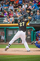 Jett Bandy (27) of the Salt Lake Bees at bat against the Oklahoma City Dodgers in Pacific Coast League action at Smith's Ballpark on May 27, 2015 in Salt Lake City, Utah.  (Stephen Smith/Four Seam Images)