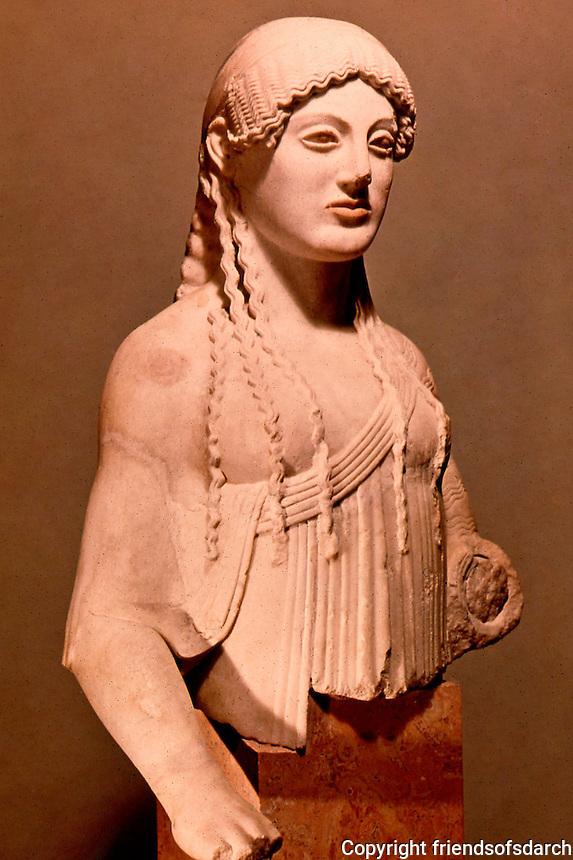 Greek Art:  The Kore of Euthydikos,   490 B.C.