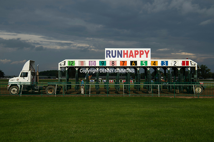 The gate is ready to get in position for the Runhappy Ellis Park Derby's 10th race for a $200,000 purse at Ellis Park in Henderson, Ky., Sunday afternoon, Aug. 9, 2020. The race is a qualifier for the upcoming Sept. 5, 2020, Kentucky Derby, with 85 points (50-20-10-5) up for grabs.